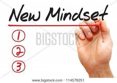 Hand Writing New Mindset List, Business Concept