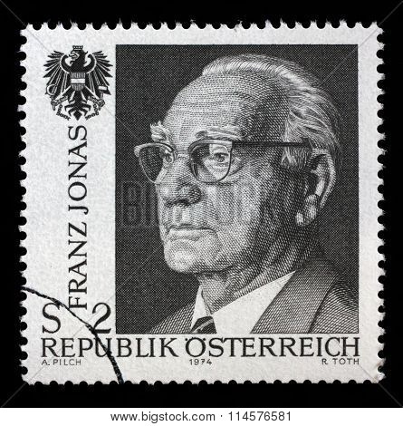 AUSTRIA-CIRCA 1974:A stamp printed in AUSTRIA shows image of the Franz Josef Jonas (October 4, 1899, Vienna - April 24, 1974, Vienna) was an Austrian political figure, circa 1974.