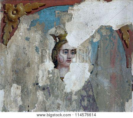 STITAR, CROATIA - AUGUST 27: Saint Catherine of Alexandria, fresco in the church of Saint Matthew in Stitar, Croatia on August 27, 2015
