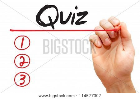 Hand Writing Quiz List, Business Concept..