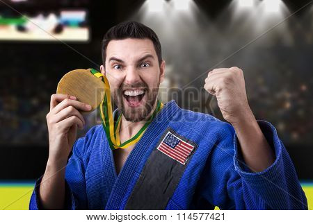 American judoka in the stadium