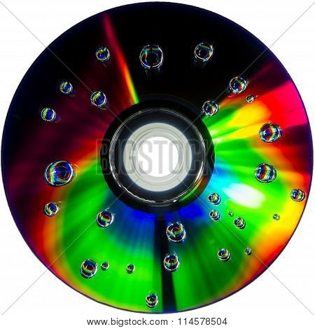 colorful water drops on CD DVD disc
