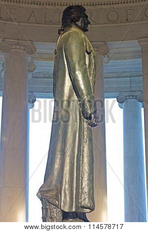 Thomas Jefferson statue inside his memorial in Washington DC USA.