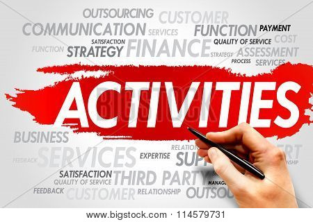 ACTIVITIES word cloud business concept, presentation background