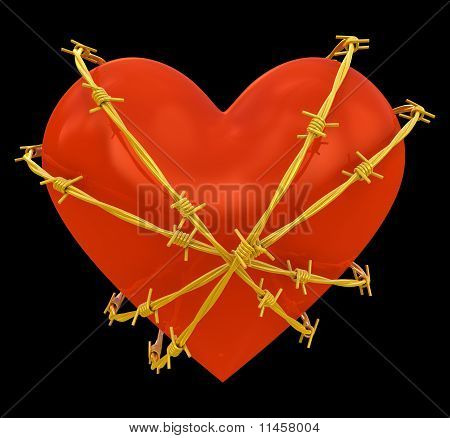 Heart shape wrapped with golden barbed wire