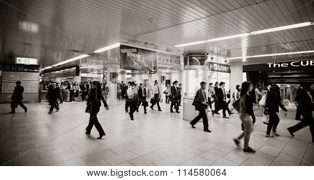 KYOTO, JAPAN - MAY 18: Subway station interior on May 18, 2013 in Kyoto. Former imperial capital of Japan for more than one thousand years, it has the name of City of Ten Thousand Shrines.