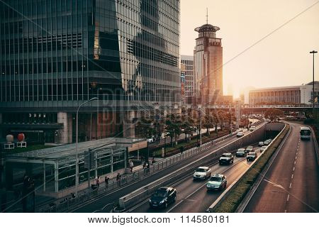 SHANGHAI, CHINA - JUN 1: City view at sunset on June 1, 2013 in Shanghai. Shanghai is the largest city by population in the world of more than 24 million as of 2013.