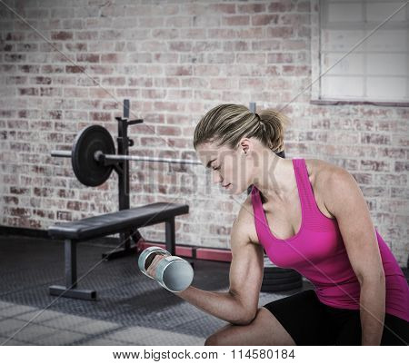 Muscular woman exercising with dumbbells against a barbell next to weights