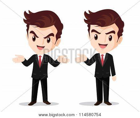 Businessman Standing Hand Up Present
