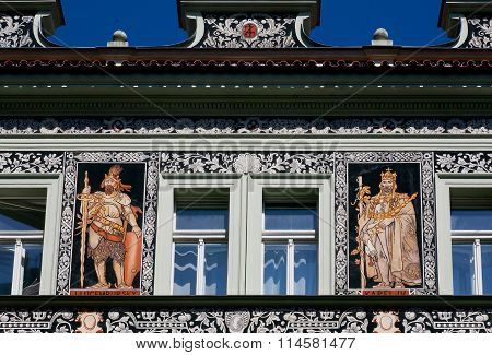 Patterned Facade Of A Baroque Building With Portrait Of Karel Iv, King Of Bohemia