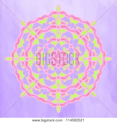 Ornate bright mandala on the purple background