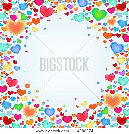 Holiday background with color hearts. Template