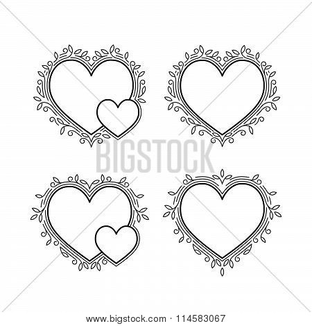 Set of Decorative Frames in Shapes of Heart