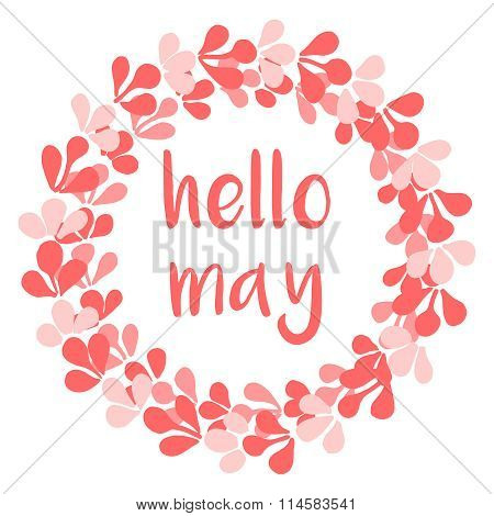 Hello may pink wreath vector card on white background