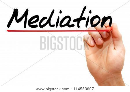Hand Writing Mediation, Business Concept