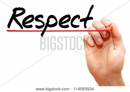 Hand Writing Respect, Business Concept