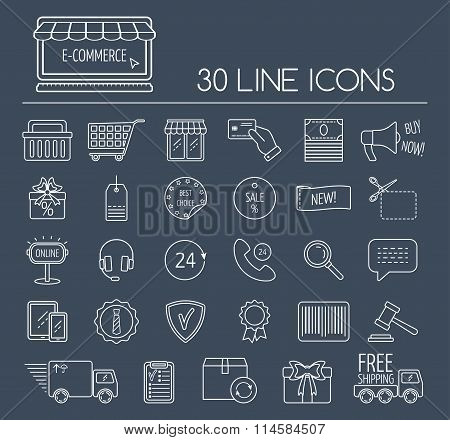Set Of E-commerce Line Icons. Line Icons For Business, Web Development And Landing Page. Flat Design