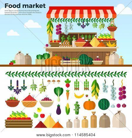 Healthy Food Market of Vegetables, Fruits, Berries