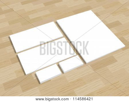 Set of office stationery for brand presentation on wood