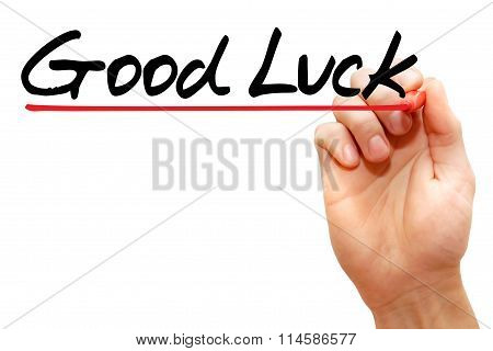 Hand Writing Good Luck, Business Concept