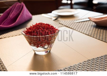Floral designs on Dining Table