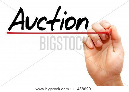 Hand Writing Auction, Business Concept