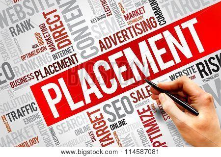 PLACEMENT word cloud business concept, presentation background
