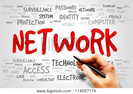 NETWORK word cloud business concept, presentation background
