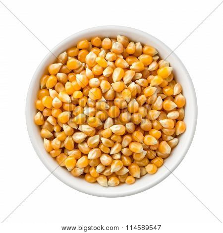 Popcorn Kernels Uncooked In A Ceramic Bowl