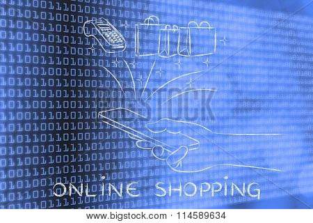 Bags And Pos Coming Out Of Smartphone, With Text Online Shopping