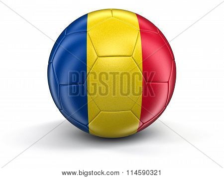Soccer football with Romanian flag. Image with clipping path