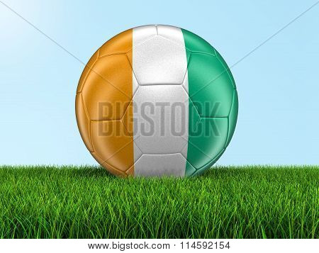 Soccer football with Cote d'ivoire flag. Image with clipping path