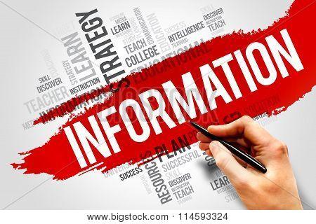 INFORMATION word cloud education concept, presentation background
