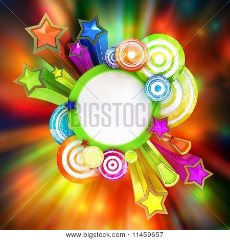 Retro Disco Poster With Beautiful Colored Stars And Stripes