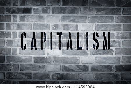 Capitalism Stencil Print On Wall