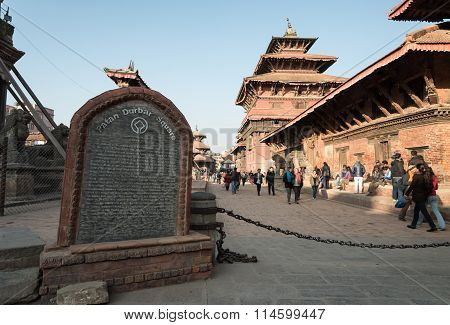 Patan, Nepal - December 24: Tourists And Local People Visiting Patan Durbar Square In Agternoon In P