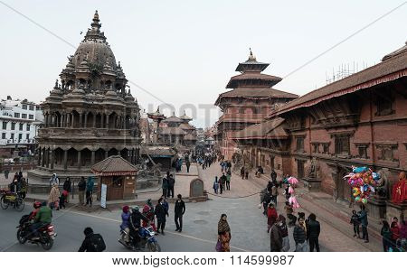 View Of Patan Durbar Square With Nepali And Tourist .