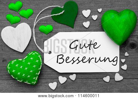 Label With Green Hearts, Gute Besserung Means Get Well Soon