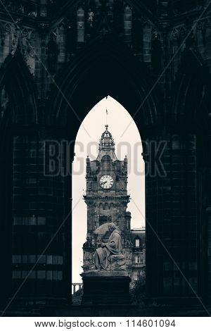 Balmoral Hotel bell tower viewed through Scott Monument in Edinburgh