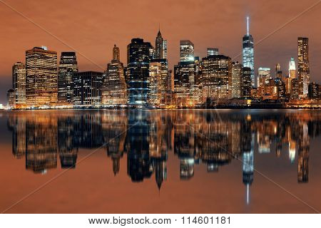 Manhattan Downtown architecture night with reflections