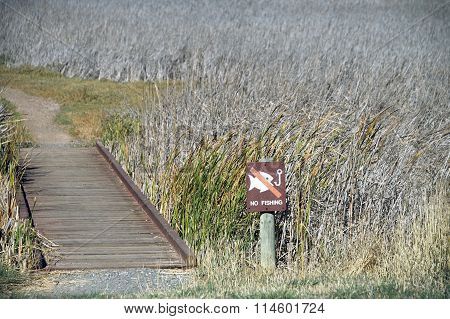 No fishing sign next to a dried up marshland. Sign is ironic considering the river is without water
