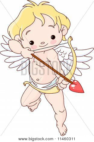 Cupid Flying And Holding Bow