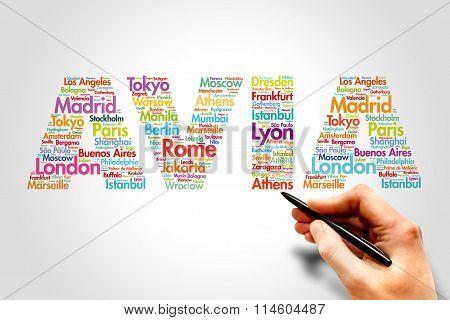 AVIA, cities names word cloud