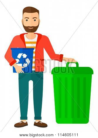 Man with recycle bins.