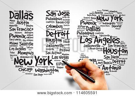 US cities names words cloud business concept