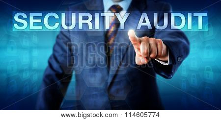 Auditor Pressing Security Audit Onscreen
