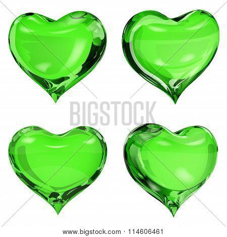 Opaque Green Hearts