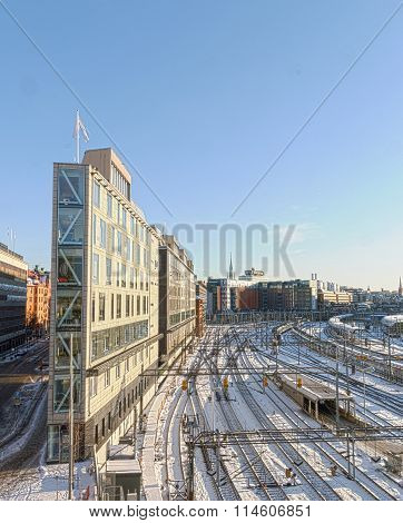 View Of The Snowy Marshalling Yard In Stockholma Beautiful Day