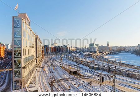 View Of The Snowy Marshalling Yard In Stockholm