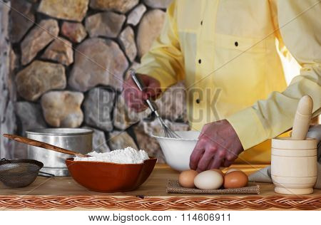 The chef prepares the dough